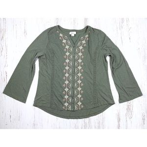 Style & Co Cotton Top XL Embroidered Olive Blouse